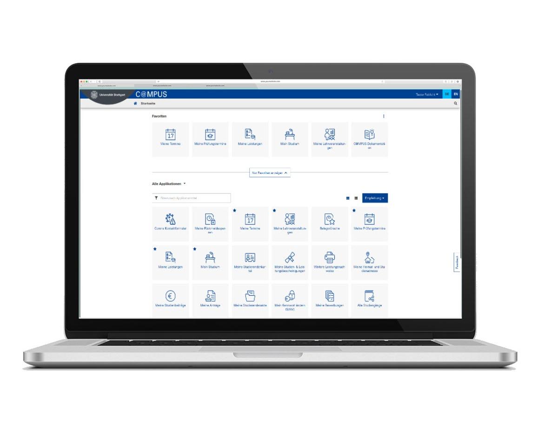 """C@MPUS """"Startseite"""" für Studierende (Laptop-Ansicht)"""