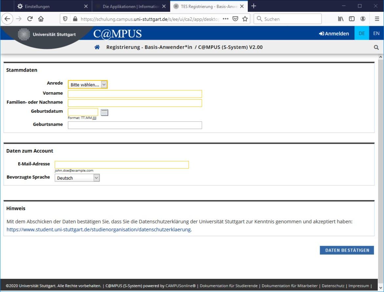 Selbstregistrierung in C@MPUS